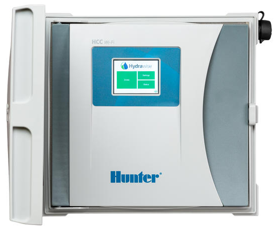 Hunter HCC-800-M 8-station sprinkler controller, gray metal outdoor, wall mount