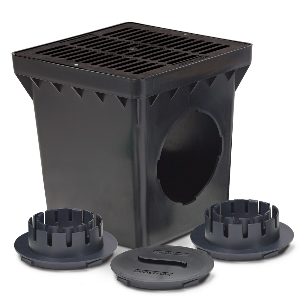 "Rain Bird DB9KITB 9"" Square Drainage Basin Kit  -  Black"