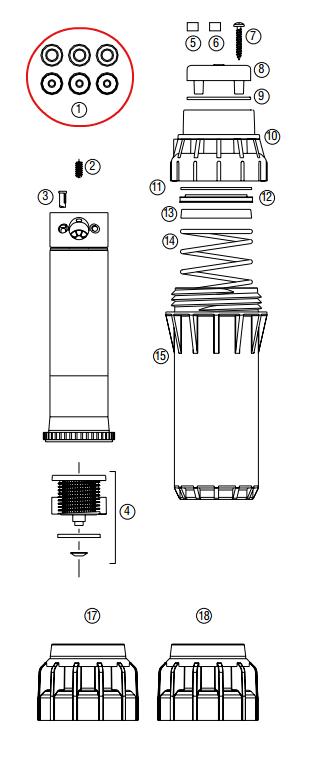 Hunter 462458 I-40-04, I-40-06 Adjustable Nozzle Pack (1 each 8, 10, 13, 15, 23, 25)