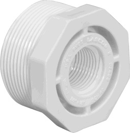"439-130 - PVC Threaded Reducing Bushing 1"" x 1/2"" (Mipt x Fipt)"