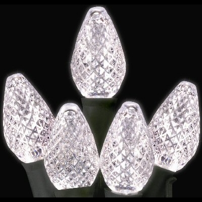 Winterland, Inc. CN-100C7PW-12G - C7 Pure White/Clear LED Lights - 100 Foot Strand